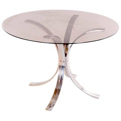 Dining Room Table by Romeo Rega, Chrome, Brass and Tinted Glass, Italy, 1970