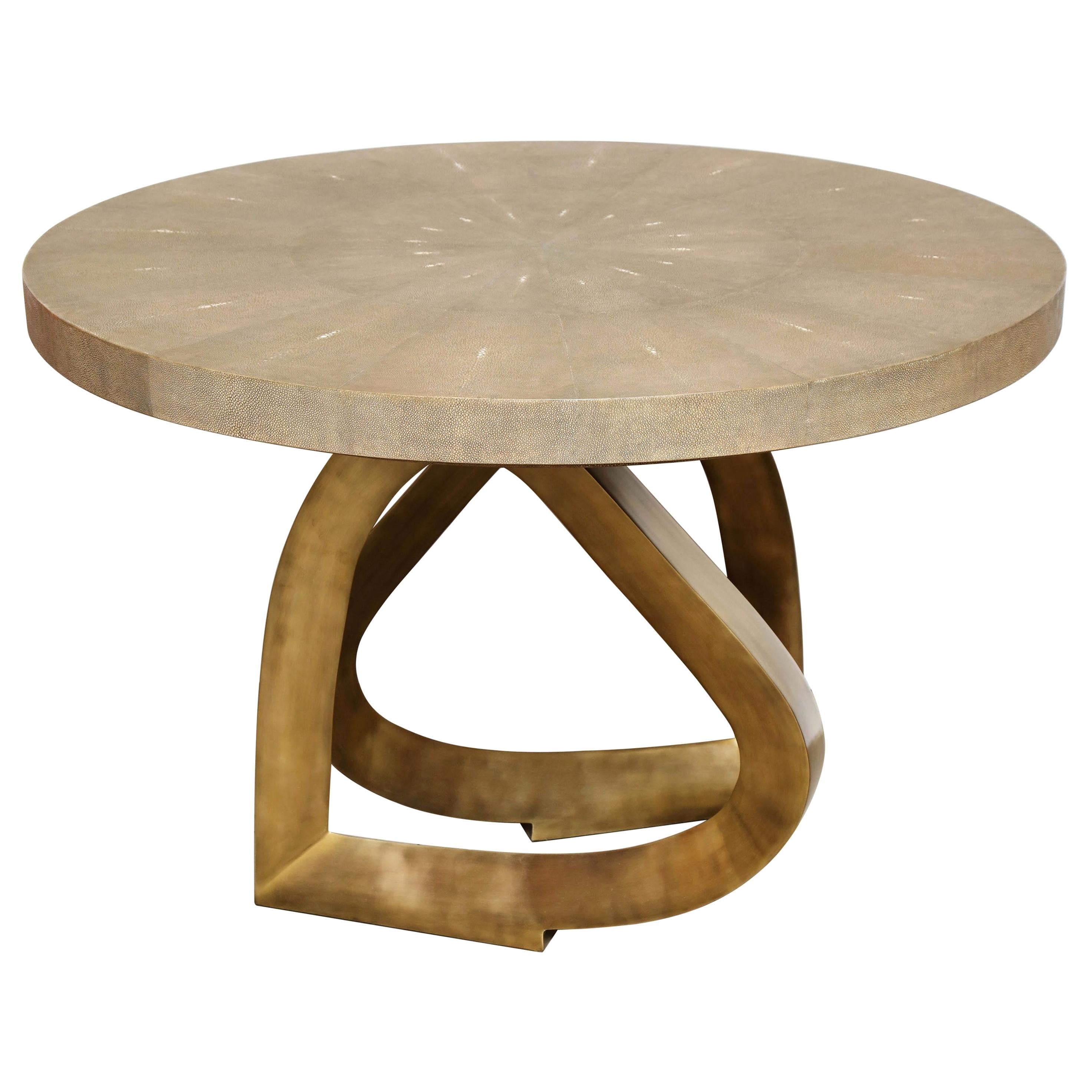 Dining Room Table, Shagreen with Bronze Base, Khaki Color Shagreen