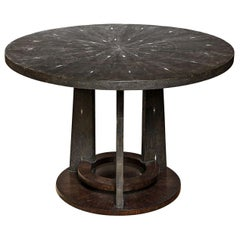 Dining Room Table, Shagreen with Palm Wood Base, Antique Black Shagreen