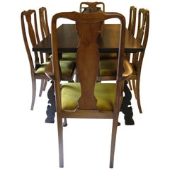 Spanish dining Room Table with 6 dining Chairs, Spanish Table, English chairs