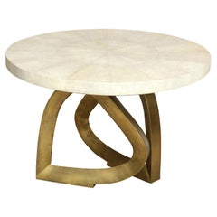 Dining Room Table with Shagreen Top and Brass Base, Contemporary Table, in Stock