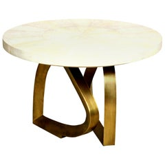 Dining Room Table with Shagreen Top and Brass Base, Cream Shagreen, In Stock