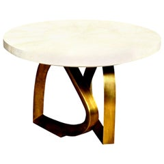 Dining Room Table with Shagreen Top and Brass Base, Cream Shagreen, Contemporary