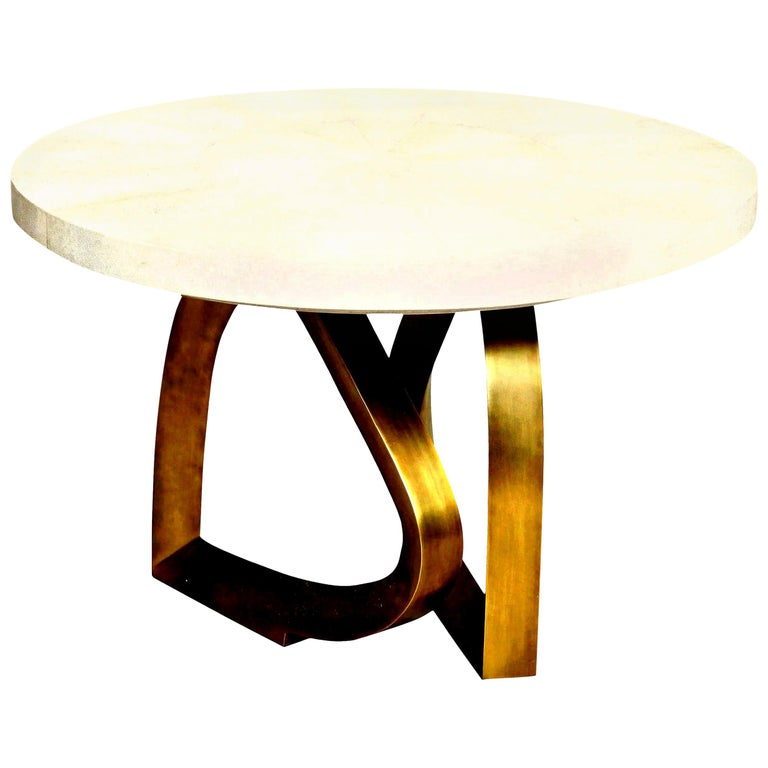 Dining Room Table with Shagreen Top and Brass Base, Cream Shagreen, in Stock For Sale