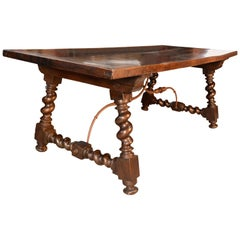Dining Room Walnut Table with Solomonic Legs, 20th Century