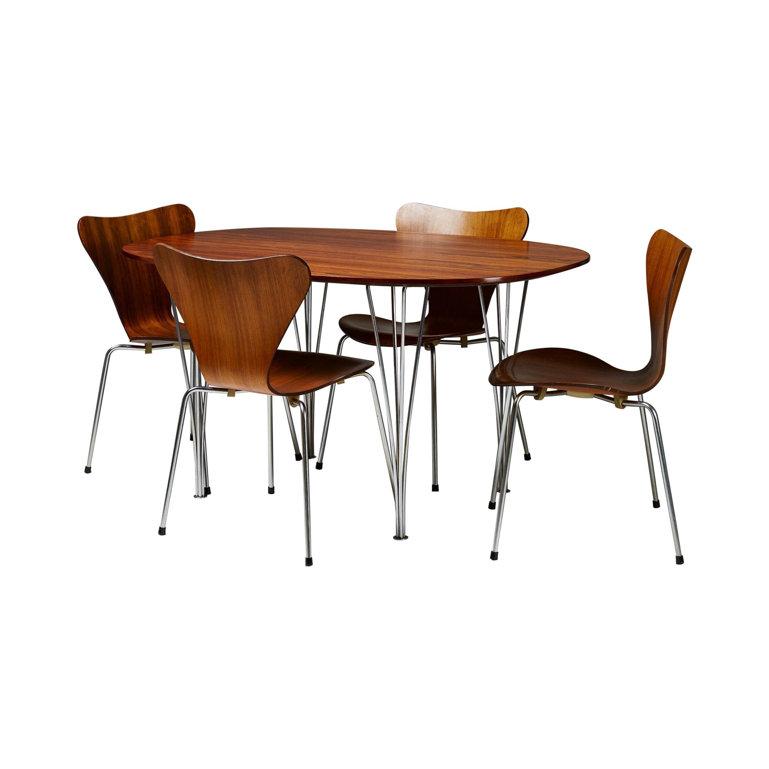 Dining set by Bruno Mathsson, Piet Hein and Arne Jacobsen for Fritz Hansen