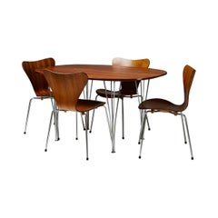 Dining set by Bruno Mathsson, Piet Hein and Arne Jacobsen for Fritz Hansen