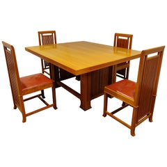 Dining Set by Frank Lloyd Wright, Cassina, 1992