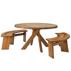Pierre Chapo Dining Set with 'Sfax' Round Table T21C and Benches S38A
