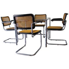 Dining Set of 4 Cesca Chairs and Table by Marcel Breuer for Thonet
