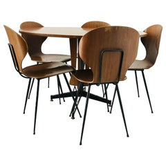 Dining Set of Table and Five Chairs, by Carlo Ratti, Italy, 1950s