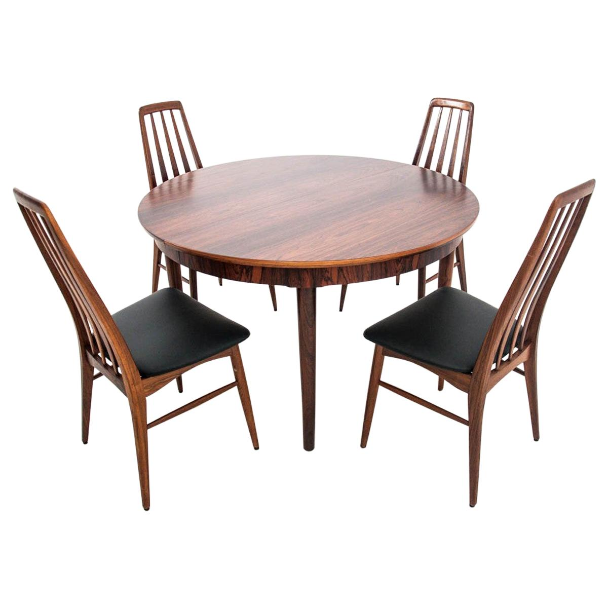 Dining Set Table and 4 Chairs, by Niels Koefoed Danish Design, 1960s