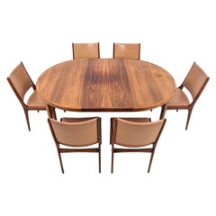 Dining Set Table and 6 Chairs, by J. Andersen Danish Design, 1960s