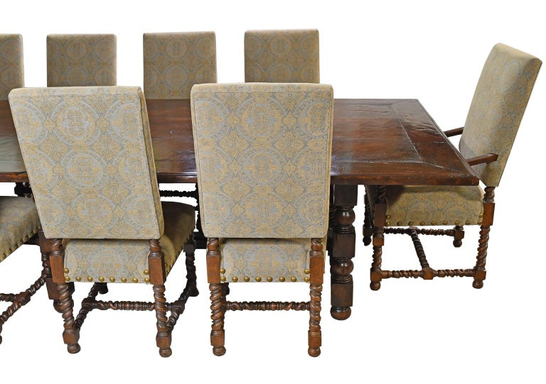 Dining Set with 12' Long Mahogany Table & 10 Upholstered Chairs with Turned Legs For Sale 6