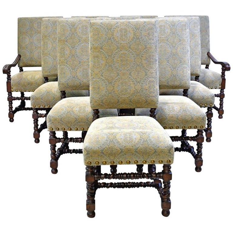 Dining Set with 12' Long Mahogany Table & 10 Upholstered Chairs with Turned Legs For Sale 7
