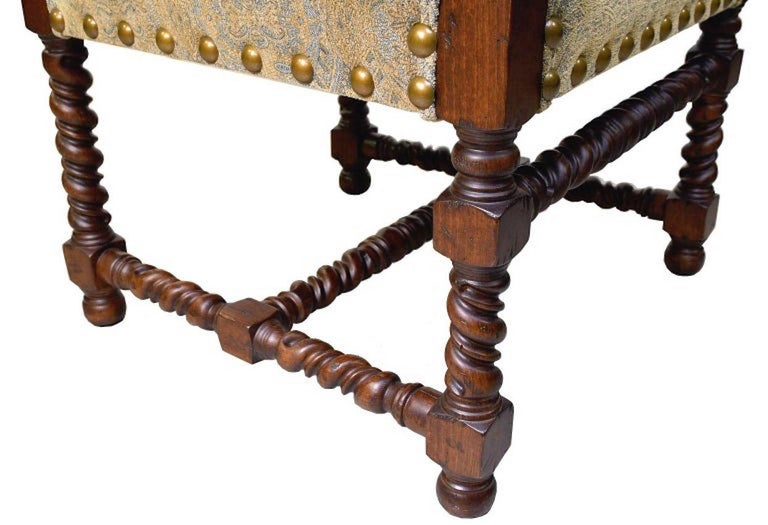 Dining Set with 12' Long Mahogany Table & 10 Upholstered Chairs with Turned Legs For Sale 13