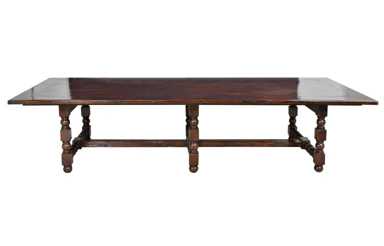Tudor Dining Set with 12' Long Mahogany Table & 10 Upholstered Chairs with Turned Legs For Sale