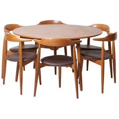 Dining Set with a Table and Six Heart Chairs by Hans Wegner for Fritz Hansen