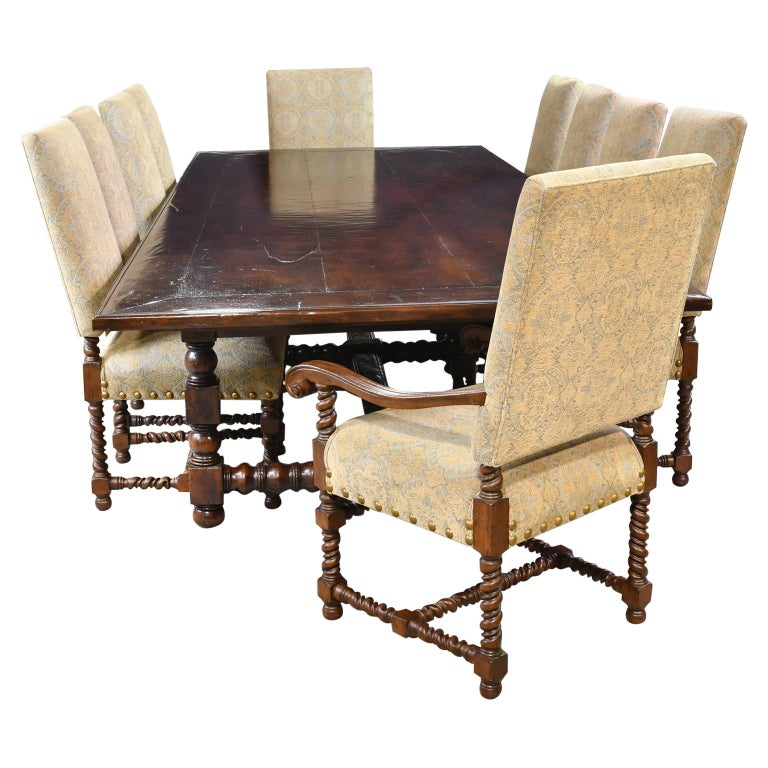 Dining Set with 12' Long Mahogany Table & 10 Upholstered Chairs with Turned Legs For Sale