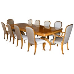 Dining Set with 10 1/2' Table & 12 Chairs in Birch by Nordiska Kompaniet, c 1930