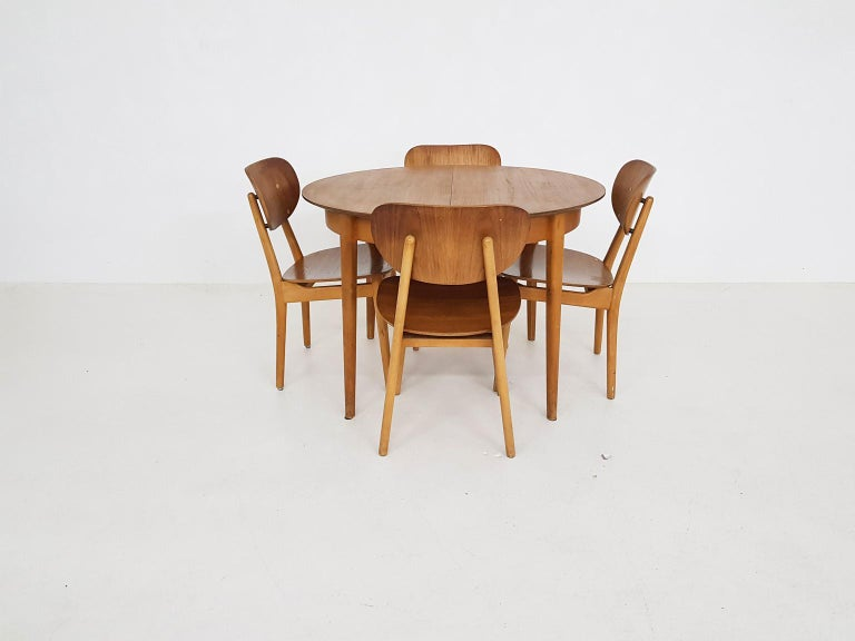 Mid-20th Century Dining Set with Table TB35 and Chair SB11, Cees Braakman for Pastoe, Dutch 1950s For Sale