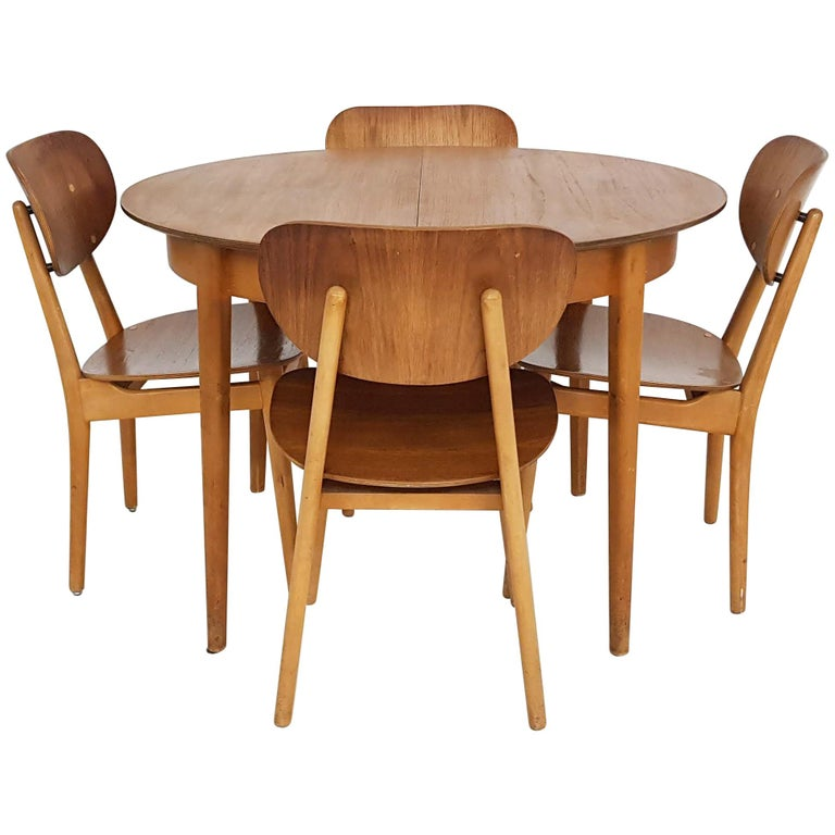 Dining Set with Table TB35 and Chair SB11, Cees Braakman for Pastoe, Dutch 1950s For Sale