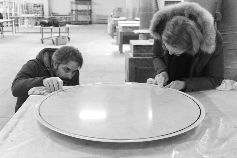 Dining Square Table White Marble Steel Italian Contemporary Design In New Condition For Sale In Ancona, Marche