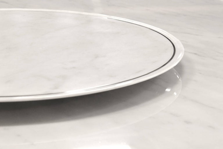 Dining Square Table White Marble Steel Italian Contemporary Design For Sale 4