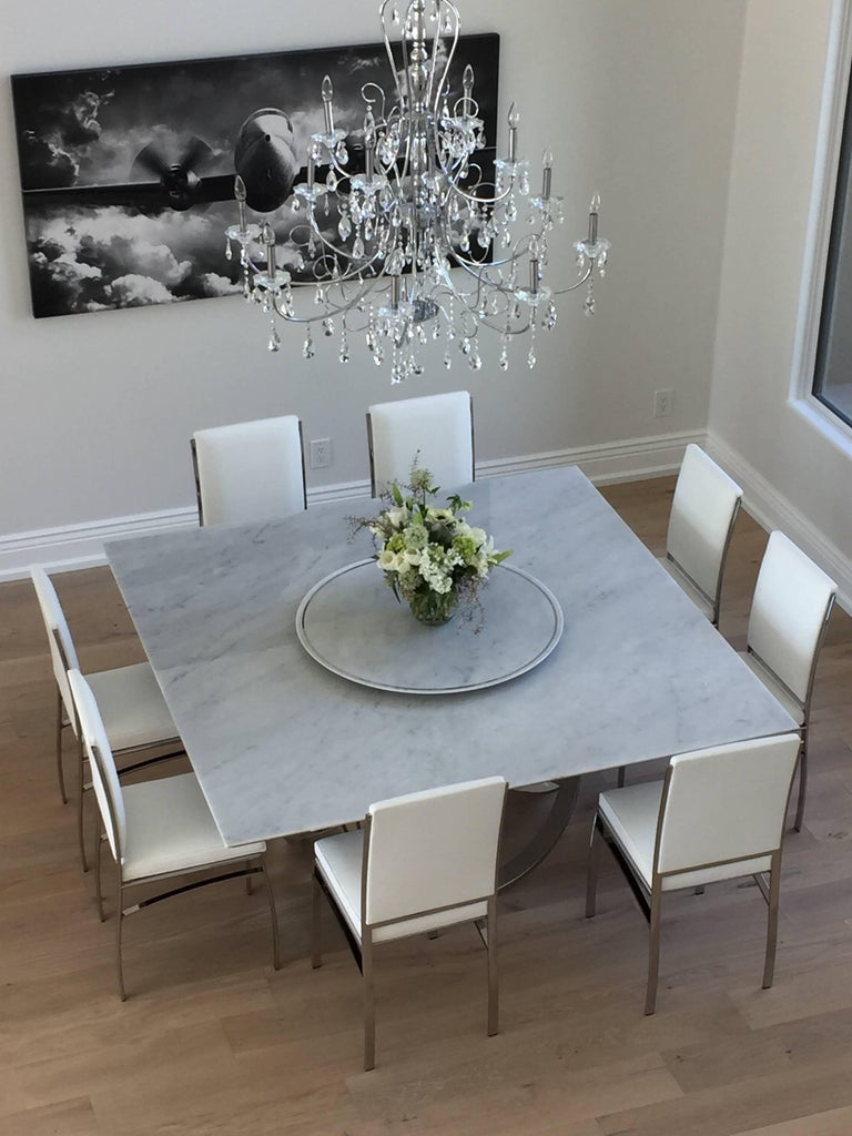 Dining Square Table White Marble Steel Italian ...