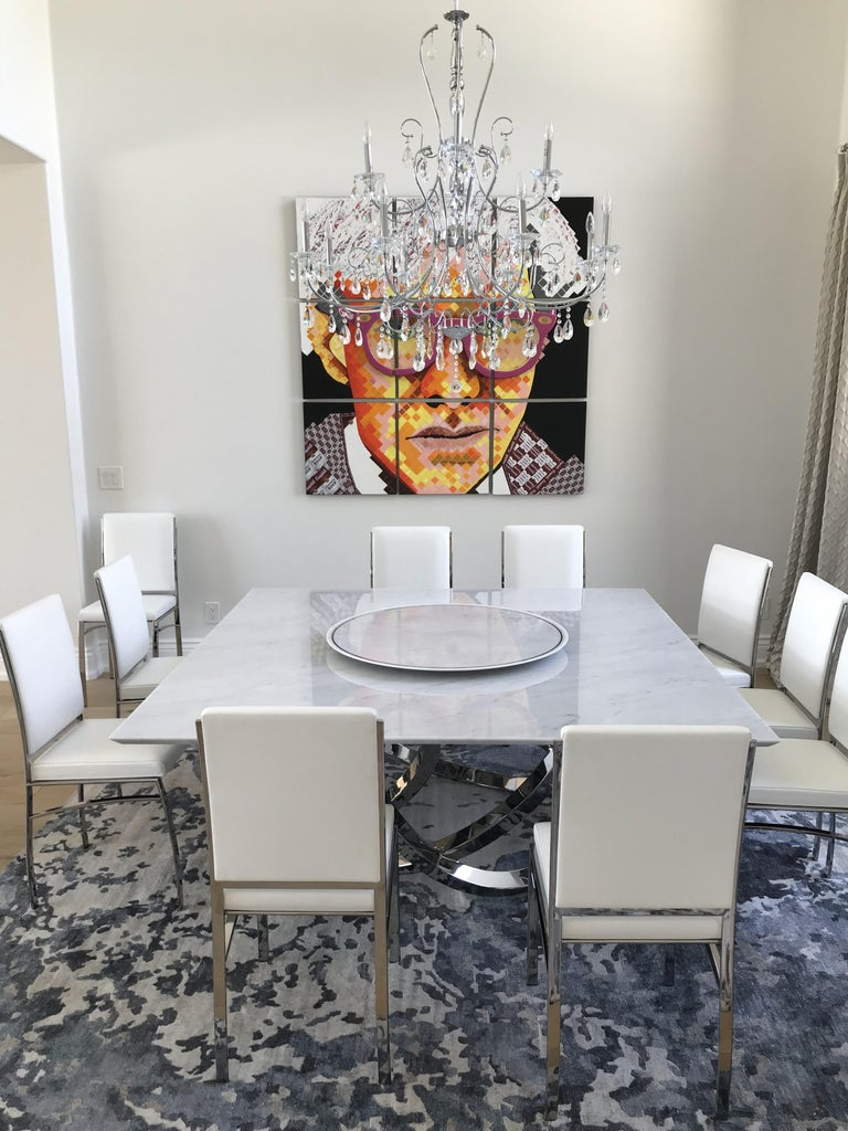 Stainless Steel Dining Square Table White Marble Steel Italian Contemporary Design For Sale