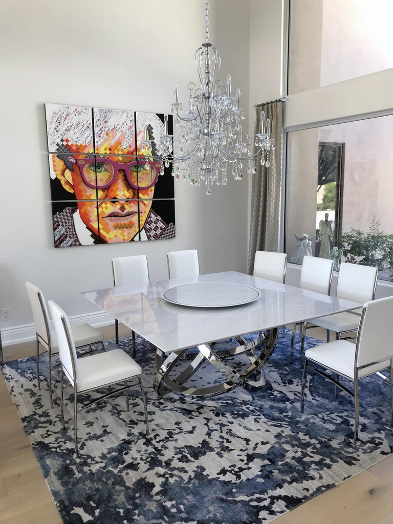 Dining Square Table White Marble Steel Italian Contemporary Design For Sale 1
