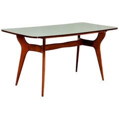 Dining Table After Ico Parisi, Midcentury, Wood and Green Formica, 1950s