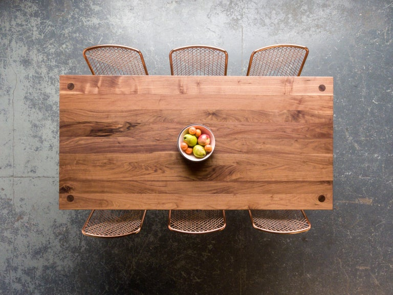 Hand-Crafted Dining Table, American Walnut Wood Minimalist Handcrafted Kitchen Table For Sale