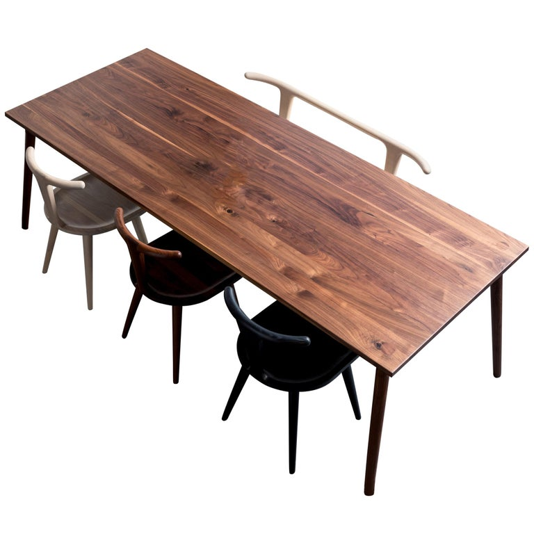 Dining Table, American Walnut Wood Minimalist Handcrafted Kitchen Table For Sale