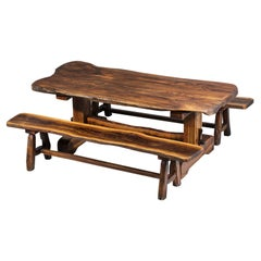 Dining Table and Benches in Solid Olive Wood 60 Brutalist Design French Massive