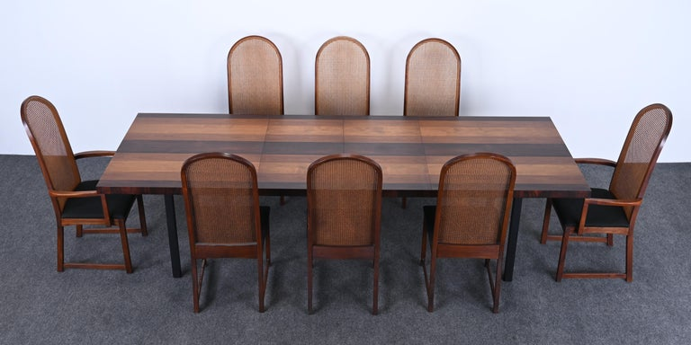 American Dining Table and Chairs by Milo Baughman for Directional, 1960s For Sale