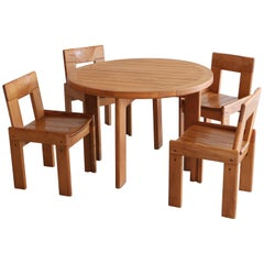 Dining Table and Chairs in Style of Pierre Chapo