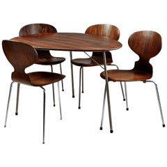 Dining Table and Four Chairs, Designed by Arne Jacobsen for Fritz Hansen