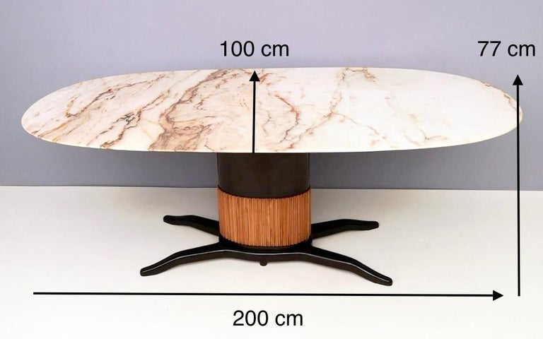 Dining Table Ascribable to Paolo Buffa with a Pink Marble Top, Italy, 1950s For Sale 7
