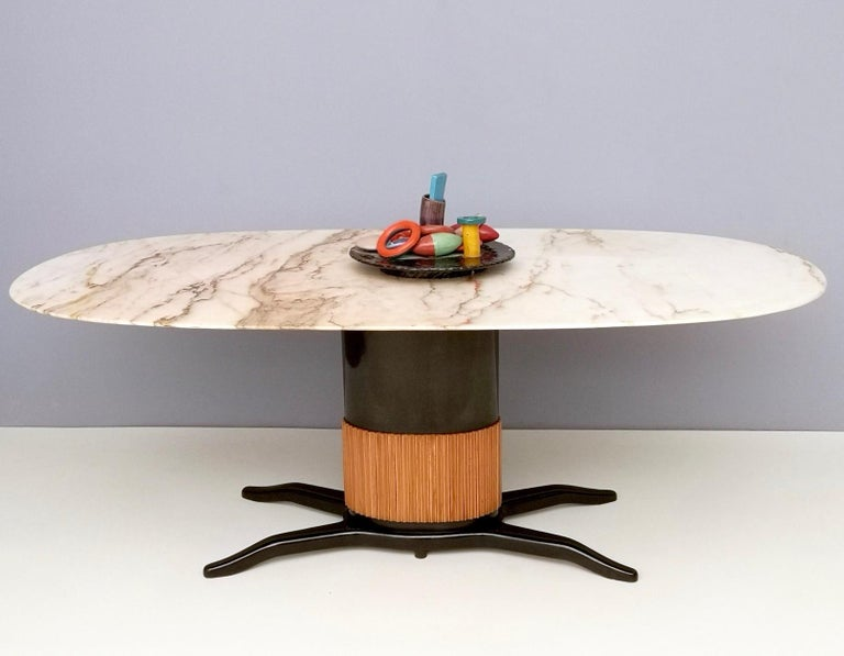 Italian Dining Table Ascribable to Paolo Buffa with a Pink Marble Top, Italy, 1950s For Sale