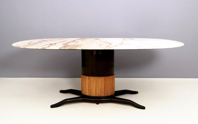Ebonized Dining Table Ascribable to Paolo Buffa with a Pink Marble Top, Italy, 1950s For Sale