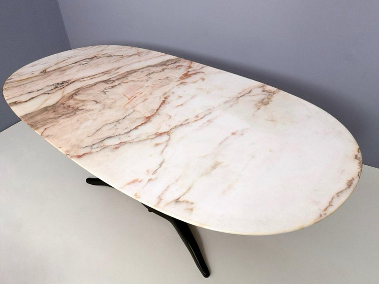 Dining Table Ascribable to Paolo Buffa with a Pink Marble Top, Italy, 1950s For Sale 2