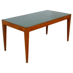 Dining Table Attributed to Gio Ponti in Walnut and Green Formica, 1950s