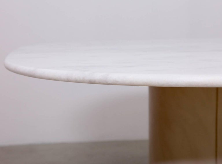 Late 20th Century Dining Table by 1970s B&B Italia in Leather and Marble For Sale
