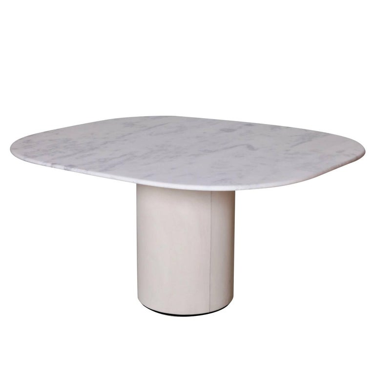 Dining Table by 1970s B&B Italia in Leather and Marble For Sale