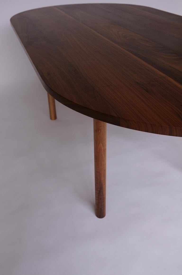 Modern Dining Table by Campagna, Contemporary Minimal Pill Shaped Walnut Wooden Table For Sale