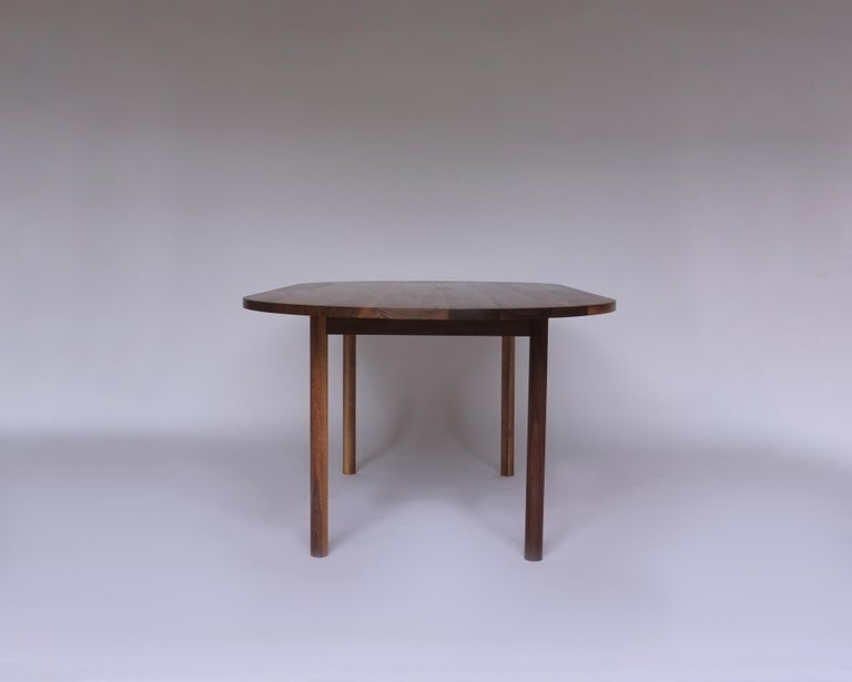 American Dining Table by Campagna, Contemporary Minimal Pill Shaped Walnut Wooden Table For Sale