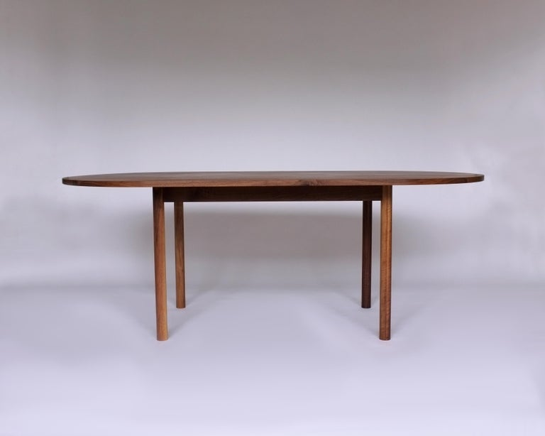 Hand-Crafted Dining Table by Campagna, Contemporary Minimal Pill Shaped Walnut Wooden Table For Sale