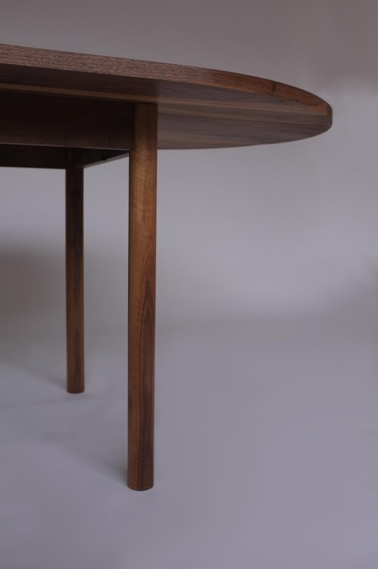 Dining Table by Campagna, Contemporary Minimal Pill Shaped Walnut Wooden Table For Sale 1