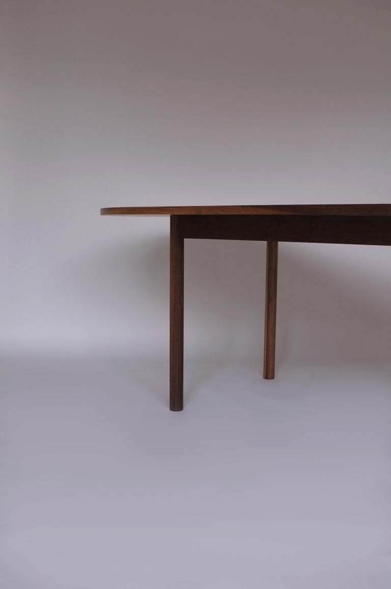 Dining Table by Campagna, Contemporary Minimal Pill Shaped Walnut Wooden Table For Sale 2